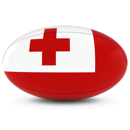 rugby ball: Tonga Rugby - Tongan Flag on Rugby Ball on White Stock Photo