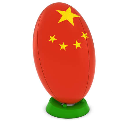 rugby ball: China Rugby - Chinese Flag on Standing Rugby Ball