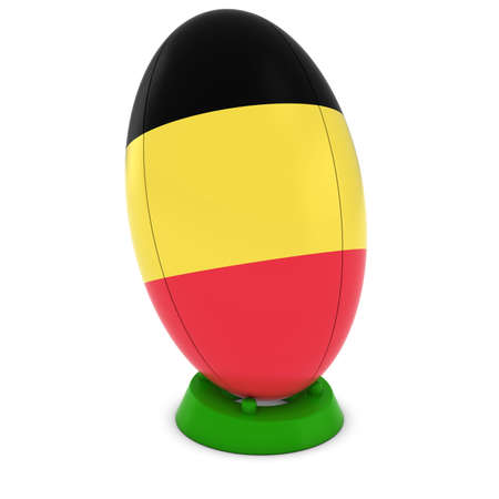 rugby ball: Belgium Rugby - Belgian Flag on Standing Rugby Ball