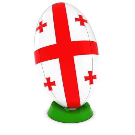 georgian: Georgia Rugby - Georgian Flag on Standing Rugby Ball