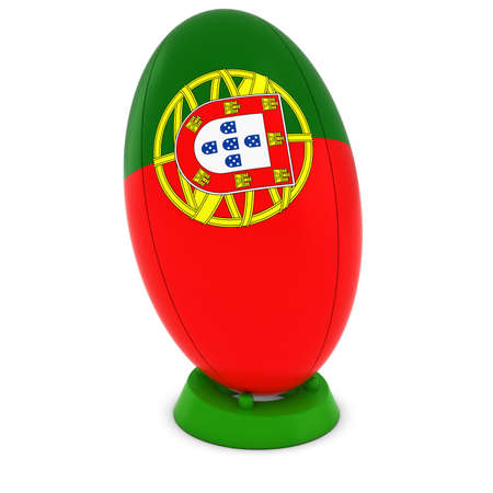 rugby ball: Portugal Rugby - Portuguese Flag on Standing Rugby Ball Stock Photo