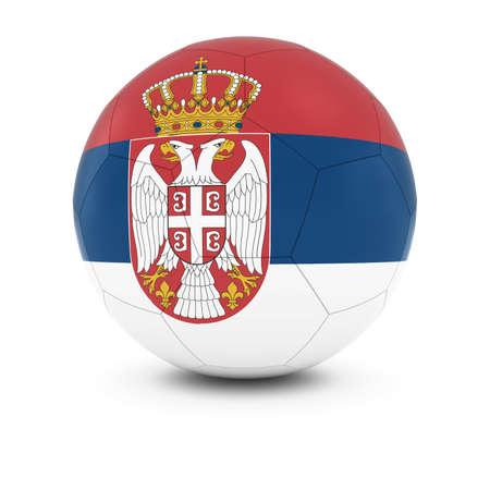 soccer team: Serbia Football - Serbian Flag on Soccer Ball Stock Photo