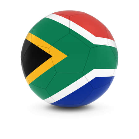 south african: South Africa Football - South African Flag on Soccer Ball Stock Photo