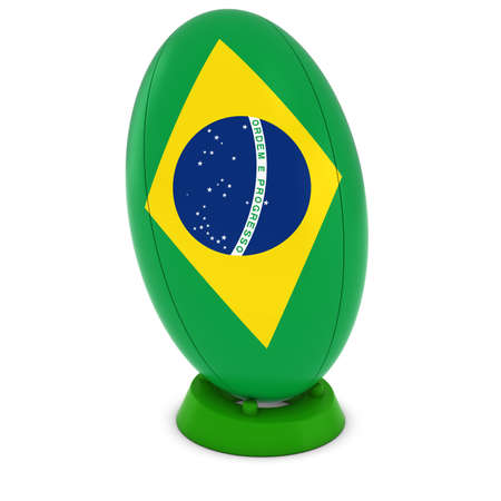 rugby ball: Brazil Rugby - Brazilian Flag on Standing Rugby Ball Foto de archivo