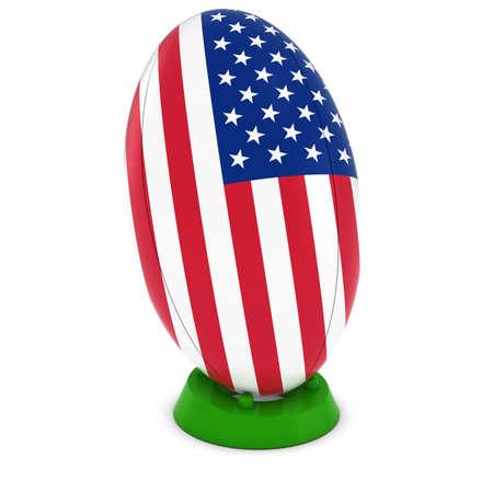 rugby ball: EE.UU. Rugby - Bandera Americana sobre Permanente Pelota de rugby Foto de archivo