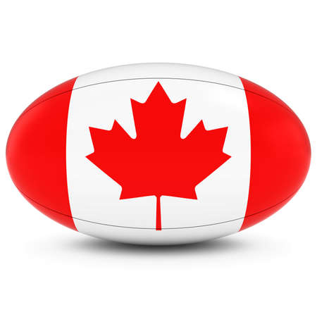 canadian flag: Canada Rugby - Canadian Flag on Rugby Ball on White Stock Photo