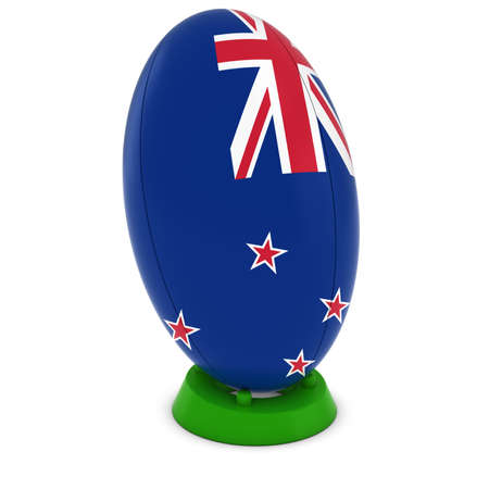 rugby ball: New Zealand Rugby - New Zealand Flag on Standing Rugby Ball