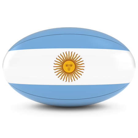 rugby ball: Argentina Rugby - Argentinian Flag on Rugby Ball on White