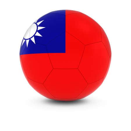 taiwanese: Taiwan Football - Taiwanese Flag on Soccer Ball Stock Photo