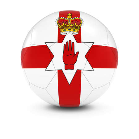 northern ireland: Northern Ireland Football - Northern Irish Flag on Soccer Ball Stock Photo
