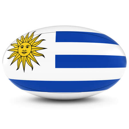 rugby ball: Uruguay Rugby - Uruguayan Flag on Rugby Ball on White Foto de archivo
