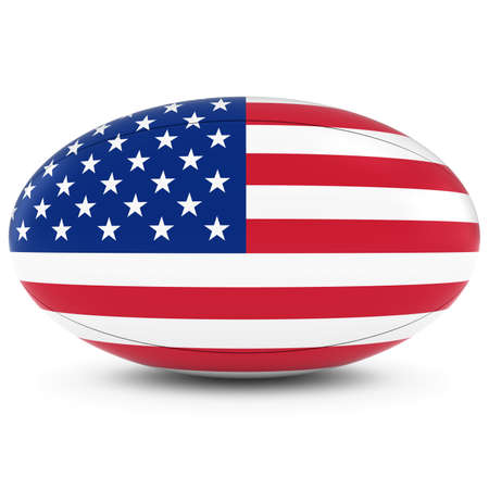 rugby ball: US Rugby - American Flag on Rugby Ball on White