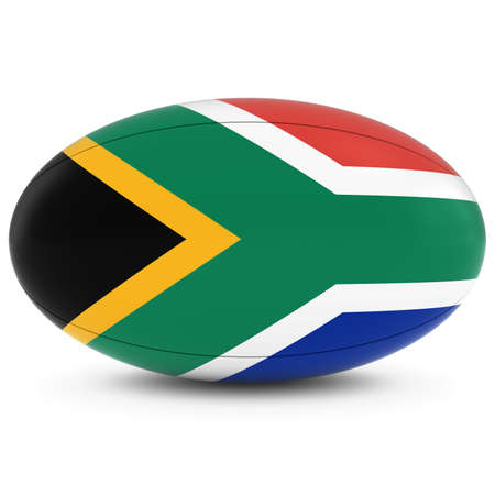 pelota rugby: Sudáfrica Rugby - Bandera de Sudáfrica en la Pelota de rugby en blanco