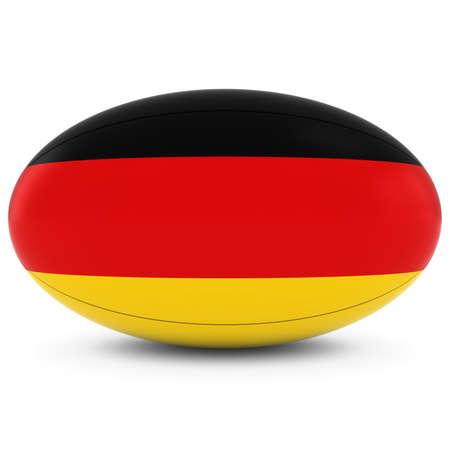 pelota rugby: Alemania Rugby - Indicador alemán en Pelota de rugby en blanco Foto de archivo