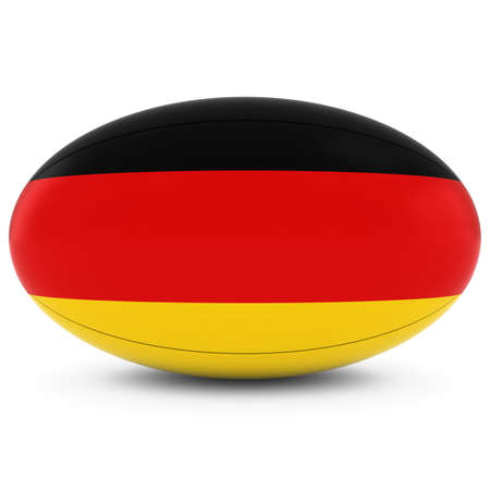 rugby ball: Germany Rugby - German Flag on Rugby Ball on White