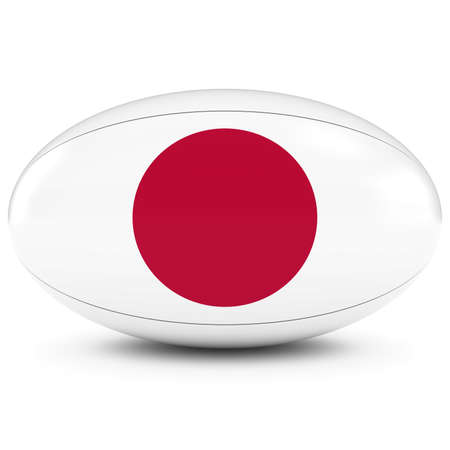 rugby ball: Japan Rugby - Japanese Flag on Rugby Ball on White Foto de archivo