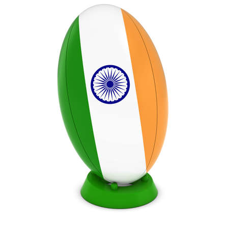 rugby ball: India Rugby - Indian Flag on Standing Rugby Ball Foto de archivo