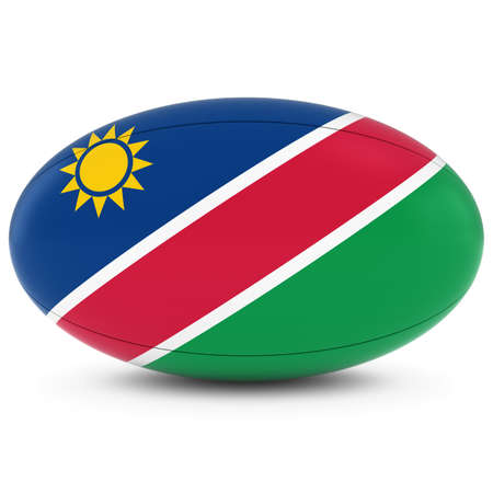 rugby ball: Namibia Rugby - Namibian Flag on Rugby Ball on White