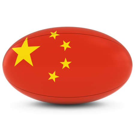 rugby ball: China Rugby - Chinese Flag on Rugby Ball on White