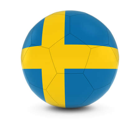 swedish: Sweden Football - Swedish Flag on Soccer Ball Stock Photo
