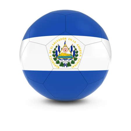 el salvadoran: El Salvador Football - Salvadoran Flag on Soccer Ball Stock Photo