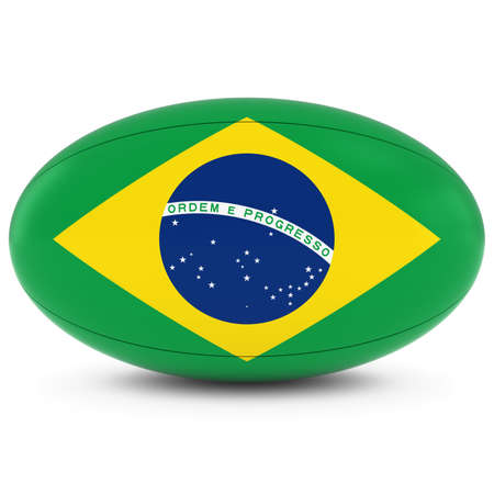 rugby ball: Brazil Rugby - Brazilian Flag on Rugby Ball on White Foto de archivo