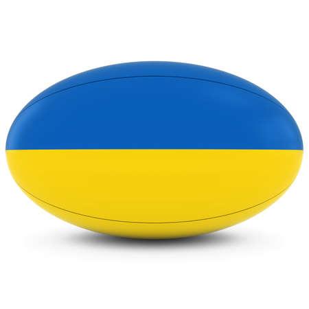 pelota rugby: Ucrania Rugby - Bandera de Ucrania sobre la bola de rugbi en blanco Foto de archivo