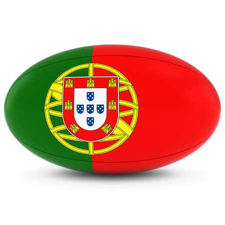 pelota rugby: Portugal Rugby - Bandera portuguesa en Pelota de rugby en blanco Foto de archivo