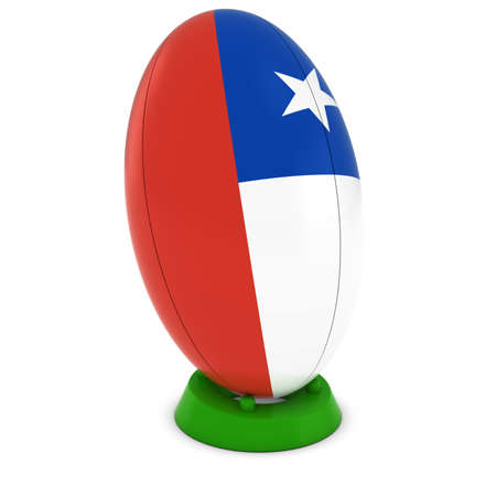chilean flag: Chile Rugby - bandera chilena sobre Permanente Pelota de rugby