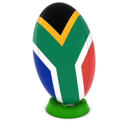 south african: South Africa Rugby - South African Flag on Standing Rugby Ball Stock Photo