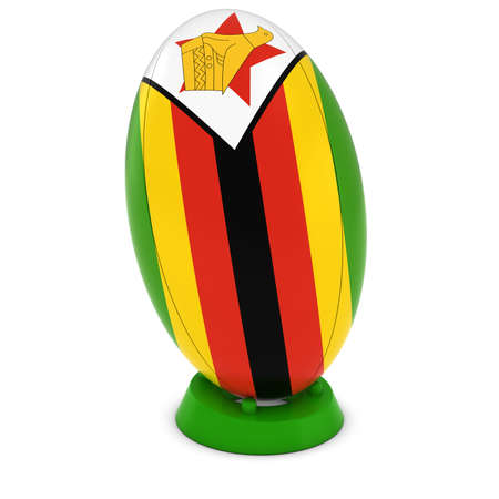 rugby ball: Zimbabwe Rugby - Zimbabwean Flag on Standing Rugby Ball