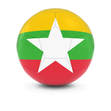 burmese: Myanmar Football - Burmese Flag on Soccer Ball
