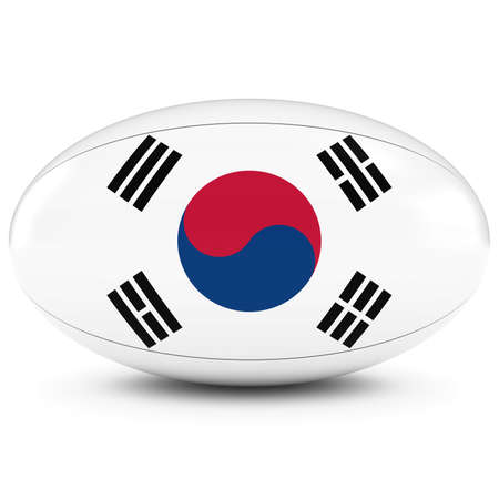 rugby ball: Corea del Sur Rugby - Bandera de Corea del Sur en la Pelota de rugby en blanco Foto de archivo