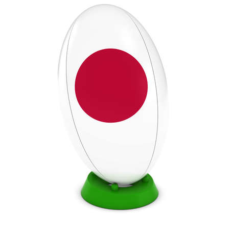 bandera japon: Japan Rugby - Japanese Flag on Standing Rugby Ball Foto de archivo