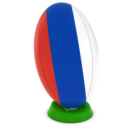 russian flag: Russia Rugby - Russian Flag on Standing Rugby Ball