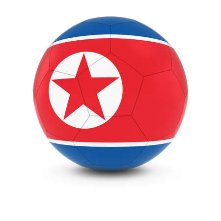 north korea: North Korea Football - North Korean Flag on Soccer Ball
