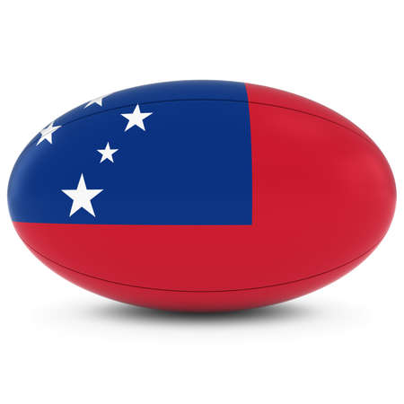 rugby ball: Samoa Rugby - Samoan Flag on Rugby Ball on White Foto de archivo