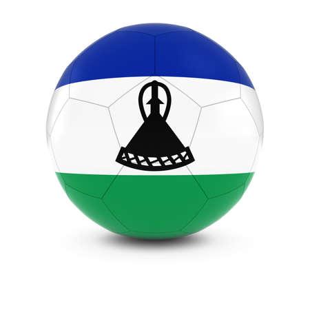 lesotho: Lesotho Football - Basotho Flag on Soccer Ball Stock Photo