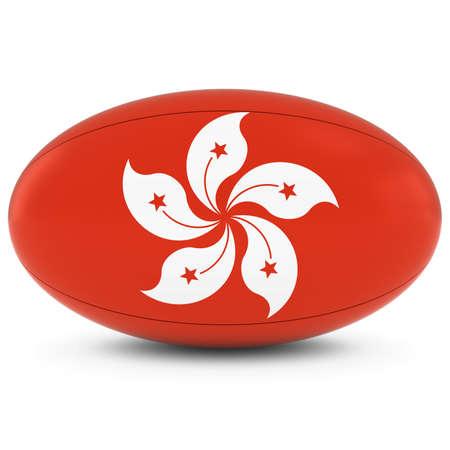 rugby ball: Hong Kong Rugby - Bandera de Hong Kongese de Pelota de rugby en blanco