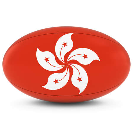 rugby ball: Hong Kong Rugby - Hong Kongese Flag on Rugby Ball on White