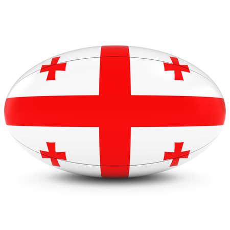 rugby ball: Georgia Rugby - Bandera de Georgia en Pelota de rugby en blanco Foto de archivo