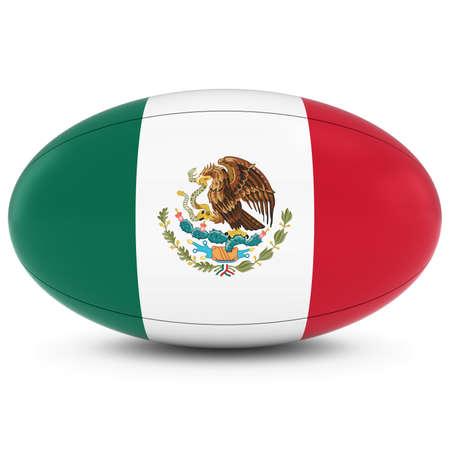 bandera de mexico: M�xico Rugby - Bandera mexicana de Pelota de rugby en blanco Foto de archivo