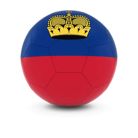 liechtenstein: Liechtenstein Football - Liechtensteinian Flag on Soccer Ball Stock Photo