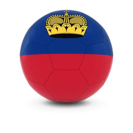 liechtenstein: Liechtenstein Football - Liechtensteinian Flag on Soccer Ball Stock Photo
