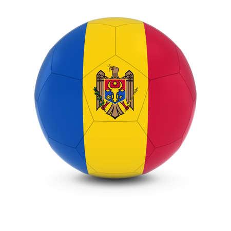 moldovan: Moldova Football - Moldovan Flag on Soccer Ball Stock Photo