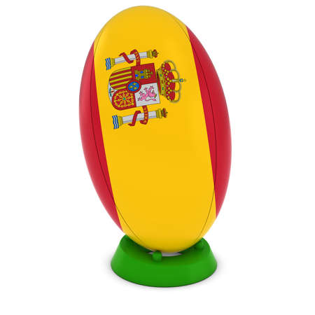 pelota rugby: Spain Rugby - Spanish Flag on Standing Rugby Ball