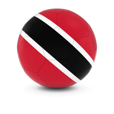 trinidadian: Trinidad and Tobago Football - Trinidadian and Tobagonian Flag on Soccer Ball Stock Photo