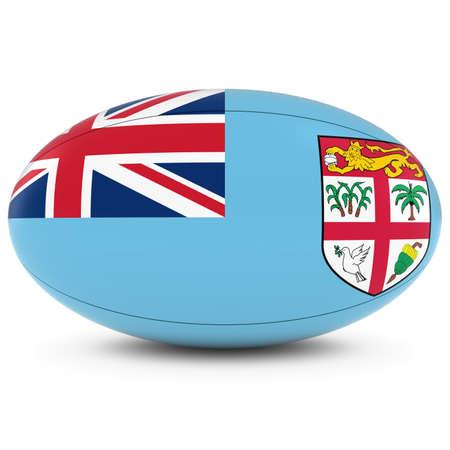 pelota rugby: Fiji Rugby - Bandera de Fiji en Pelota de rugby en blanco Foto de archivo