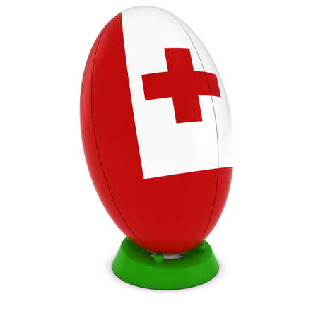 upright: Tonga Rugby - Tongan Flag on Standing Rugby Ball Stock Photo