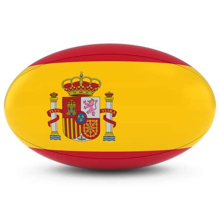 pelota rugby: Espa�a Rugby - bandera espa�ola en la Pelota de rugby en blanco Foto de archivo